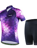Women's Summer Cycling Purple Dream Sky Short Shirt Bicycle Breathable Quick Dry Jersey Bike 3D Cushion Pad Shorts Suits