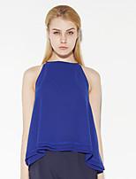 c + beeindrucken Frauen gehen die anspruchsvolle Sommerbehälter TopSolid Rundhals ärmellos blau Polyester aus dünn