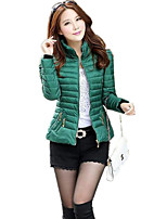 Women's Solid Pink / Red / Black / Green / Yellow Padded CoatStreet chic Stand Long Sleeve