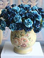 1 1 Une succursale Polyester / Plastique Roses Fleur de Table Fleurs artificielles 11inch/28cm