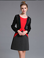 AUFOLI Winter Women Simple Vintage Color Block Geometric Patchwork Plus Size Long Sleeve Dress