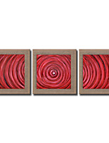 Modern Wall Art Pictures Abstract Red Circle Oil Painting Hand-Painted On Linen Home Decoration Painting With Frame