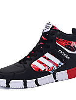 Men's Sneakers Spring Fall Comfort PU Outdoor Flat Heel Lace-up Black Blue Black and Red