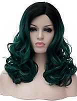 Women Synthetic Wig Capless Medium Deep Wave Black/Green Ombre Hair Halloween Wig Costume Wigs