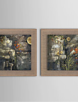 2 Panel Modern Wall Art Pictures Abstract Forest Oil Painting Hand-Painted On Linen Home Decoration With Frame