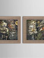 Ручная роспись Абстракция / Пейзаж / фантазия / Цветочные мотивы/ботанический Картины маслом,Европейский стиль / Modern / Реализм 2 панели