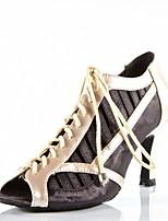 Customizable Women's Dance Shoes Satin Latin / Salsa Sandals / Heels Customized Heel Indoor / Performance Black / Red