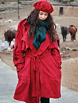 Whisper Wheat  Women's Going out /Street chic Trench CoatSolid Notch Lapel Long Sleeve Fall Red / Yellow Polyester