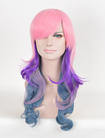 Pink Multi-Color Afro Women Synthetic Wigs Fashion Long Wave Cosplay Wigs