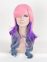 las mujeres afro rosa de varios colores de moda las pelucas sintéticas peluca de cosplay de onda larga