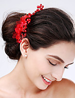 Women's Tulle / Acrylic Headpiece-Wedding / Special Occasion Flowers 1 Piece Red