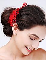 Vrouwen Tule / Acryl Helm-Bruiloft / Speciale gelegenheden Bloemen 1 Stuk Rood / Wit