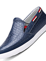 Herren-Loafers & Slip-Ons-Lässig-Leder-Flacher Absatz-Komfort-Schwarz / Blau / Braun
