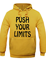 Men's Letter Casual / Sport HoodieCotton Long Sleeve Blue / Red / White / Yellow