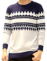 Men's Striped Round Neck Casual / Work / Formal / Plus Size Warm Pullover Cotton Long Sleeve Blue / Green / Red M-5XL