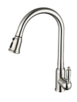Contemporary Pull-out/Pull-down Deck Mounted Pullout Spray Ceramic Valve Single Handle One Hole Nickel Brushed  Kitchen