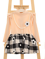 Girl's Casual/Daily Jacquard DressPolyester Spring / Fall Black / Pink