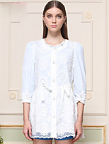 I'HAPPY Women's Going out Cute Trench CoatEmbroidered Round Neck  Sleeve Spring / Fall White Polyester Opaque