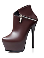 Women's Heels Winter Round Toe Leatherette Casual Stiletto Heel Others Black / Blue / Brown / Gray Walking