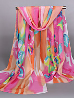 Women's Chiffon Flowers Print Scarf Yellow/Blue/Red/Orange