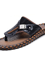 Men's Slippers & Flip-Flops Summer / Fall Slippers Leather Casual Flat Heel Others Black / Brown Others