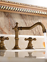 Antique / Traditional / Modern  Widespread with  Ceramic Valve Two Handles Three Holes for  Antique Copper