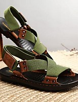 Men's Sandals Summer Leather Casual Flat Heel Others Black Green Other