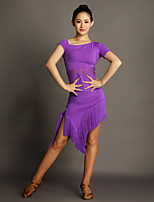 Latin Dance Dresses Women's Performance Viscose Tassel(s) 1 Piece Black / Purple / Red