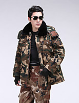 Hiking Softshell Jacket Men's Breathable / Thermal / Warm / Windproof / Wearable Winter Cotton Camouflage