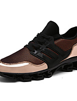 Men's Sneakers Spring Summer Fall Comfort Tulle Casual Flat Heel Lace-up Black Silver Gold