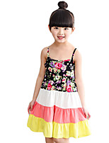 Girl's Casual/Daily Floral Dress,Cotton / Polyester Summer Black / Multi-color