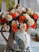 1 1 Филиал Полиэстер / Пластик Гвоздика Букеты на стол Искусственные Цветы 12.5inch/32cm