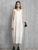 Sunny Women's Casual/Daily Simple Loose DressSolid Round Neck Midi Sleeveless Cotton Summer Mid Rise Inelastic Medium