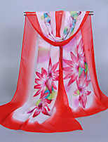 Women's Chiffon Flowers Print Scarf Red/Green/Fuchsia