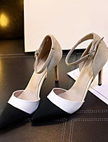 Women's Heels Spring Fall Comfort Leather Casual Stiletto Heel Others Black White Others