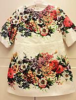 Girl's Casual/Daily Print DressCotton Summer White
