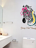 Wall Stickers Wall Decals Colorfull Zebra Feature Removable Washable PVC