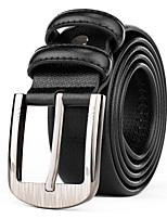 Mens Black Leather Waist Belt Straps Casual Pants Jeans Silver Wide Waist Belt Buckle