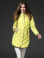 FRMZ Women's Solid Yellow Down CoatSimple Hooded Long Sleeve