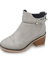 Women's Boots Fall / Winter Fashion Boots Dress Chunky Heel Zipper Black / Gray / Beige Walking
