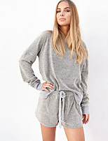 Women's Going out / Casual/Daily Simple / Street chic All Seasons T-shirt PantSolid Round Neck Long Sleeve Gray