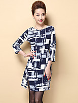 Boutique S Women's Plus Size / Casual/Daily Street chic Shift DressPlaid Round Neck Above Knee  Sleeve Polyester Fall