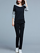 Women's Plus Size / Sports Active All Seasons Set PantColor Block Round Neck Long Sleeve Red / Black Polyester Medium