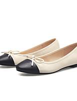 Черный / Миндальный-Женский-На каждый день-Дерматин-На плоской подошве-С закрытым носком / Удобная обувь / С круглым носком-На плокой
