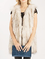 Women's Plus Size / Casual/Daily / Party/Cocktail Simple Fur CoatPatchwork Round Neck Long Sleeve Fall /