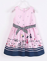 Girl's Casual/Daily Print DressCotton Summer Pink