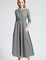 BORME Women's Round Neck 3/4 Length Sleeve Maxi Dress-Y038