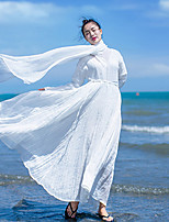 Ample Robe Femme Plage / Vacances Vintage,Couleur Pleine Col en V Maxi Manches Longues Blanc Lin Automne Taille Normale Micro-élastique