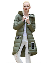 Women's Print Fashion Slim Plus Size Thick Padded Coat Simple / Street chic Hooded Long Sleeve
