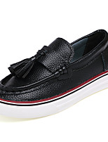 Girl's Loafers & Slip-Ons Spring / Fall Comfort Leather Casual Flat Heel Slip-on Black / Brown / White Sneaker